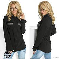 Женская рубашка черного цвета с длинным рукавом. Модель 13352.