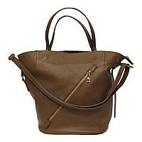 Женская  сумка из натуральной кожи фабричная (отшита  в Италии) рыжего цвета, на две ручки