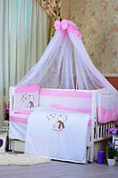 """Постельный набор в детскую кроватку """"Bepino Звездочет """" нежно-розовое в точку, фото 1"""