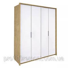 Шкаф 4 двери ФЛОРЕНЦИЯ глянец белый/дуб Сан-Марино от Миро-Марк