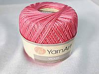 Пряжа Violet YarnArt 100% бавовна рожевий насичений № 5001