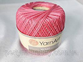 Пряжа нитки для вязания хлопковые  Виолет Ярнарт Violet YarnArt 100% бавовна рожевий насичений 5001