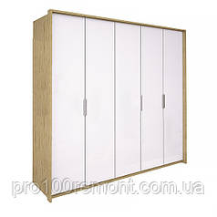 Шкаф 5 дверей ФЛОРЕНЦИЯ глянец белый/дуб Сан-Марино от Миро-Марк