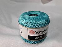 Пряжа Violet YarnArt 100% бавовна бірюза № 5353