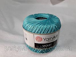 Пряжа нитки для вязания хлопковые  Виолет Ярнарт Violet YarnArt 100% бавовна бірюза  світла 5353