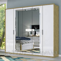 Шкаф 5 дверей с зеркалом ФЛОРЕНЦИЯ глянец белый/дуб Сан-Марино от Миро-Марк