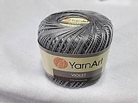 Пряжа Violet YarnArt 100% бавовна сірий темний № 5326