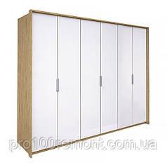 Шкаф 6 дверей ФЛОРЕНЦИЯ глянец белый/дуб Сан-Марино от Миро-Марк
