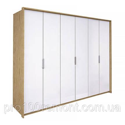 Шкаф 6 дверей ФЛОРЕНЦИЯ глянец белый/дуб Сан-Марино от Миро-Марк, фото 2