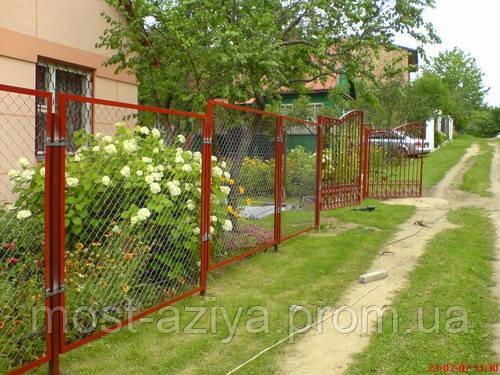 Забор из сетки рабицы В УГОЛКЕ, забор из рабицы В РАМКЕ