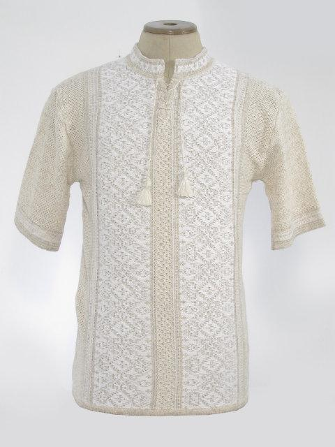 Мужская вязаная рубашка Роман белый (короткий рукав)