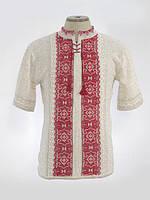 Мужская вязаная рубашка Руслан красный (короткий рукав)