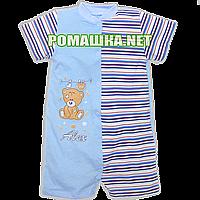 Детский песочник-футболка р. 80-86 ткань КУЛИР 100% тонкий хлопок ТМ Алекс 3092 Голубой Б 86