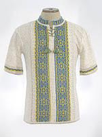 Мужская вязаная рубашка Руслан желто-голубой (короткий рукав)