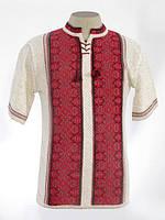 Мужская вязаная рубашка Роман красный (короткий рукав)