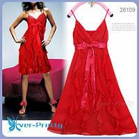 Платье с воланами, красное размер S