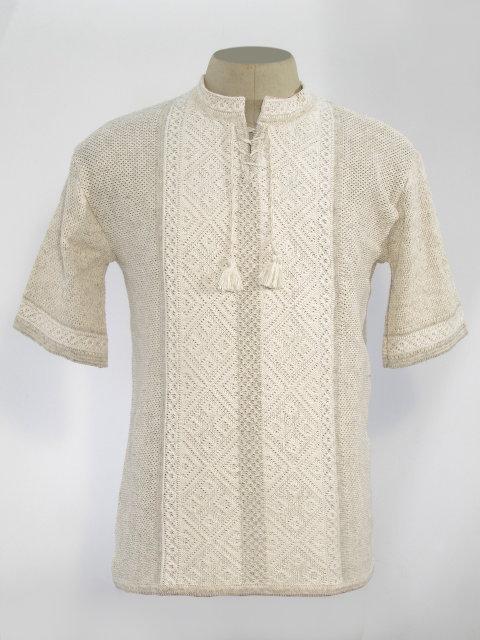 Мужская вязаная рубашка Назар (короткий рукав)