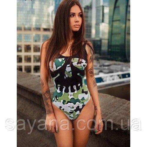Женский стильный совместный купальник с ярким принтом ,в расцветках