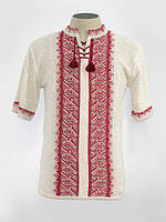 Мужская вязаная рубашка Тарас красный (короткий рукав)