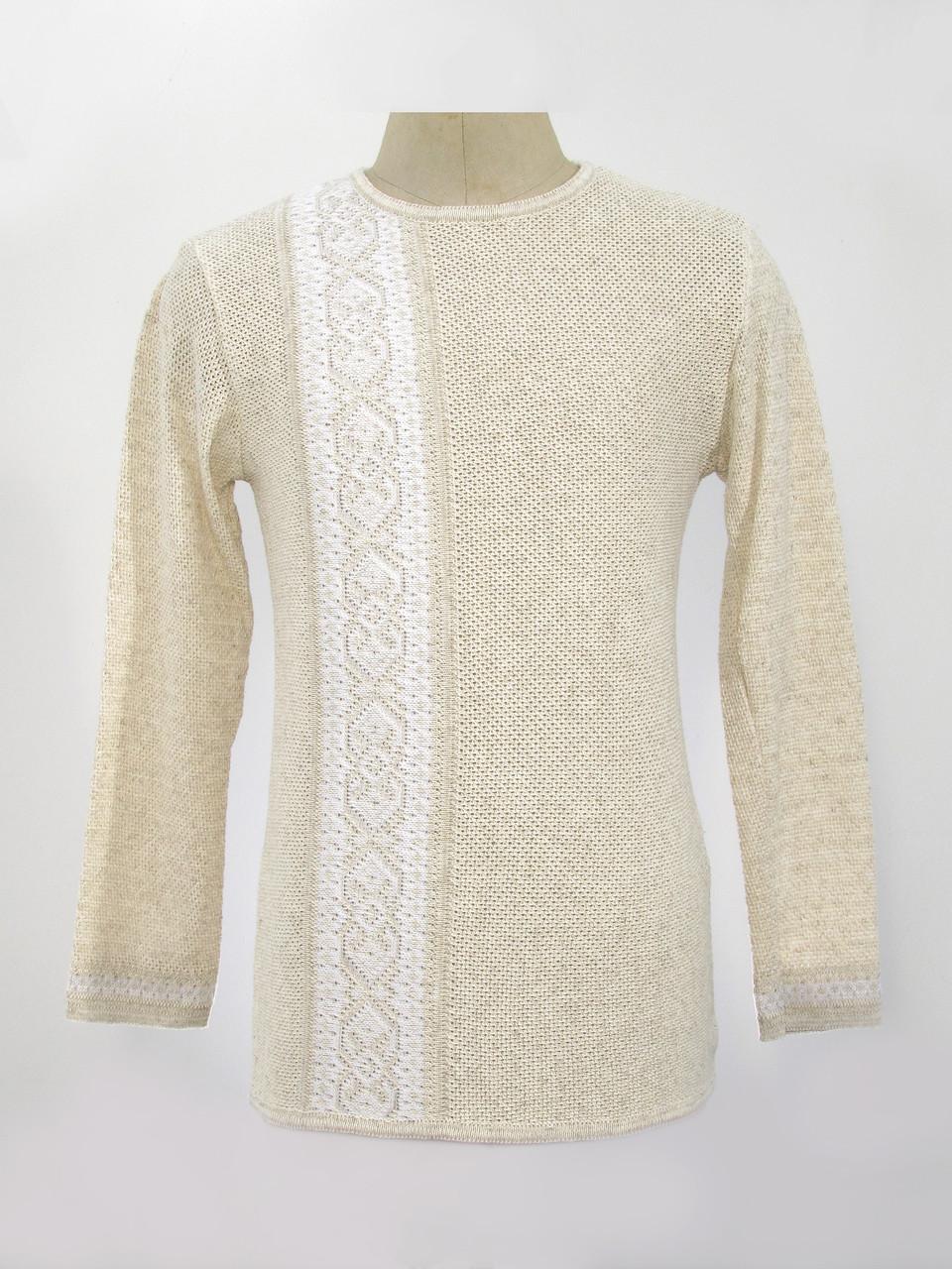 Мужская вязаная рубашка Белая полоска