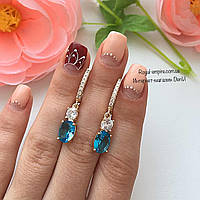 """Серьги """"Самира"""" позолота 585 проба, голубые камни., фото 1"""