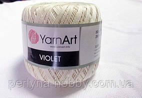Пряжа нитки для вязания хлопковые  Виолет Ярнарт Violet YarnArt 100% бавовна молочний темний № 6194