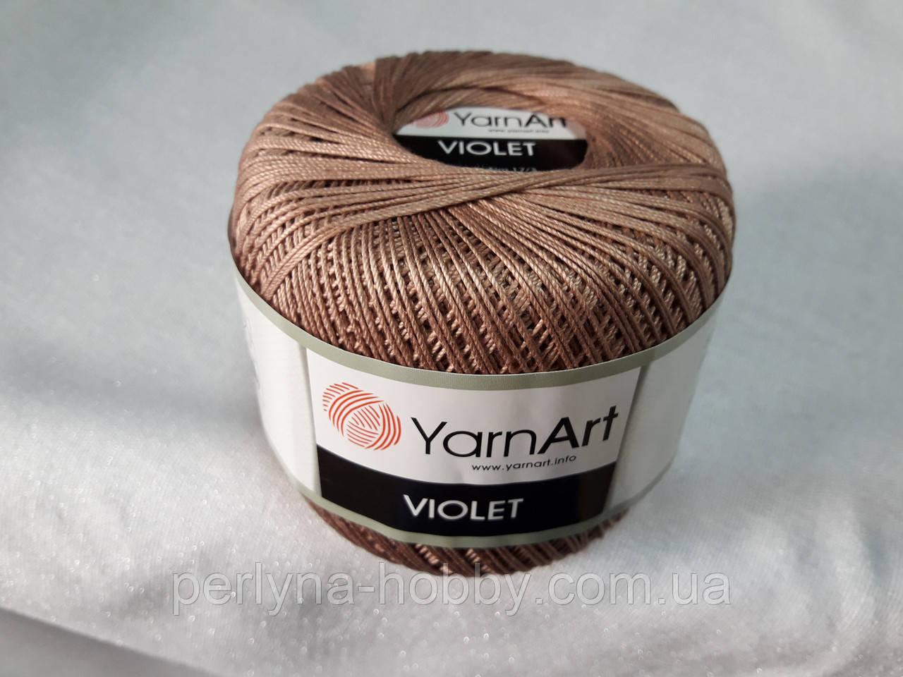 Пряжа Violet YarnArt 100% бавовна коричневий світлий № 0077