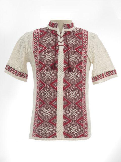Мужская вязаная рубашка Назар красный (короткий рукав)