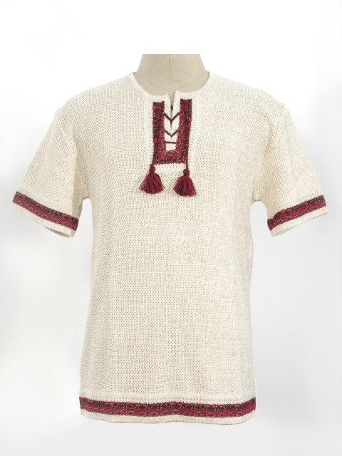 Мужская вязаная рубашка 20242 (короткий рукав)