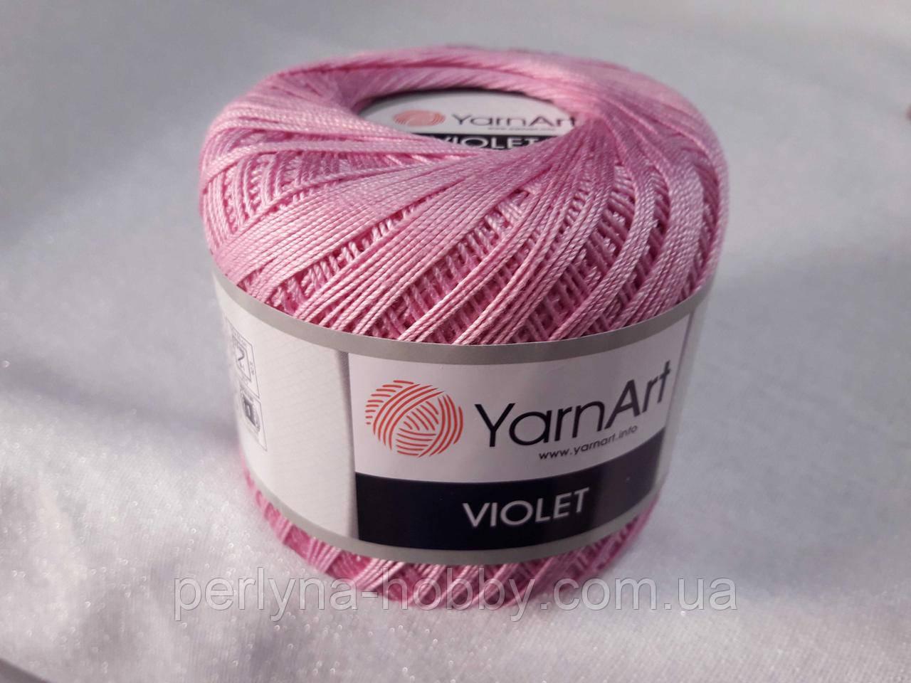 Пряжа нитки для вязания хлопковые  Виолет Ярнарт Violet YarnArt 100% бавовна, рожево ліловий № 0319