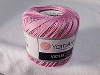 Пряжа Violet YarnArt 100% бавовна, рожево ліловий № 0319