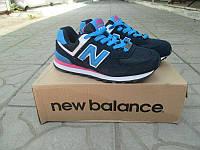 Женские кроссовки New Balance 574 черные с синим