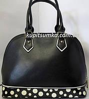 Женская чёрная сумка с рисунком белый горошек