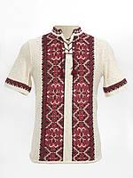 Мужская вязаная рубашка Влад красный (короткий рукав)