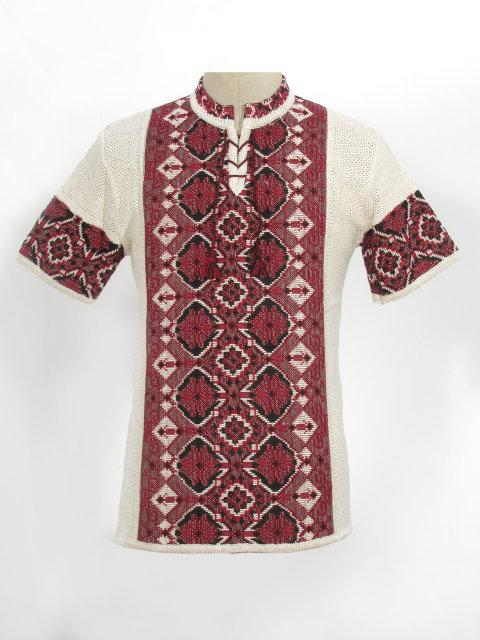 Мужская вязаная рубашка Арсен (короткий рукав)