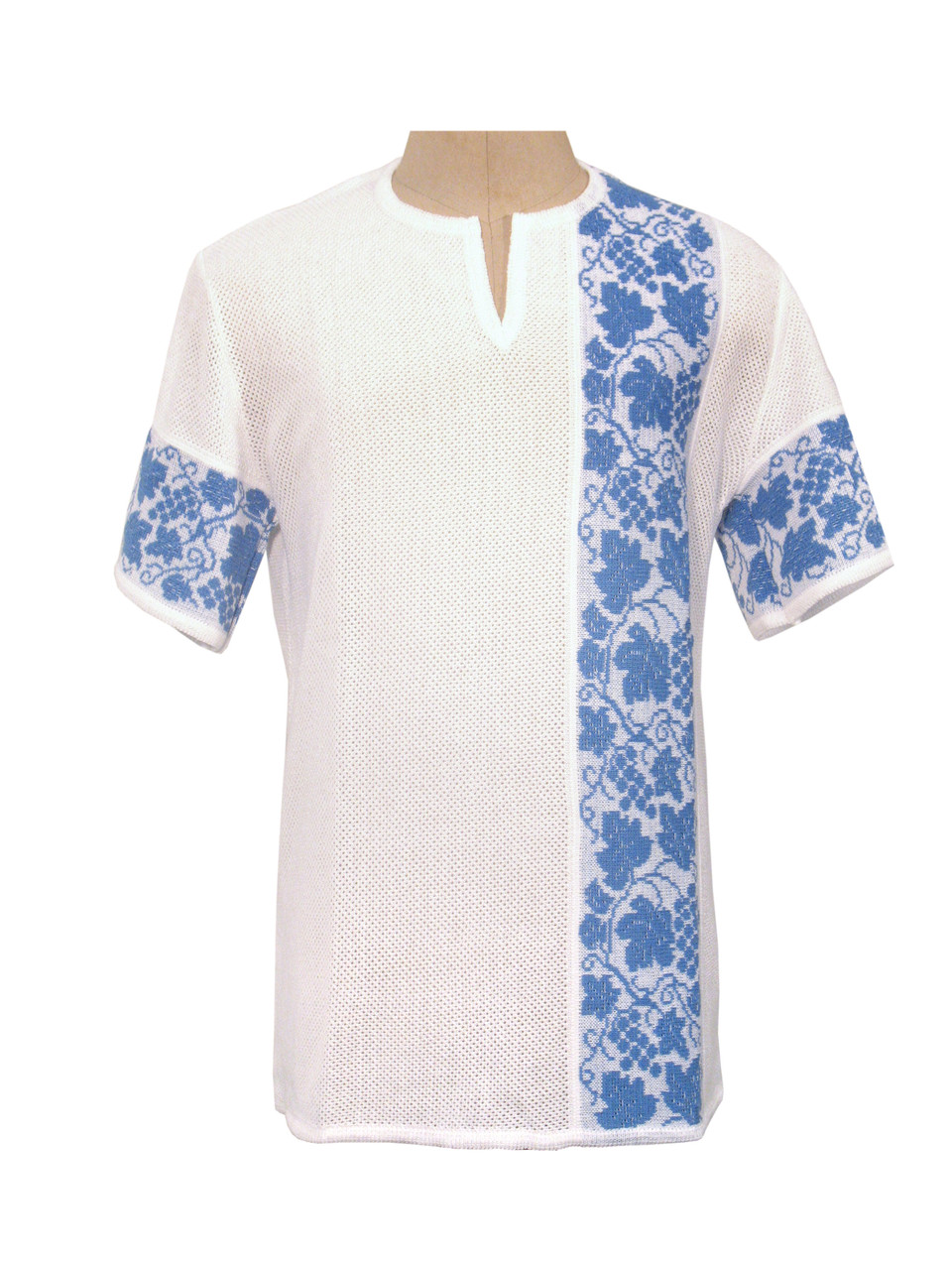Мужская вязаная рубашка 20250 (короткий рукав)