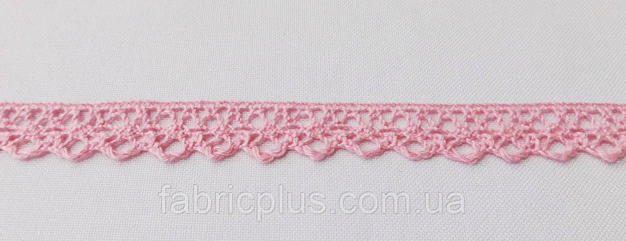 Кружево лен 13 мм розовое одностороннее