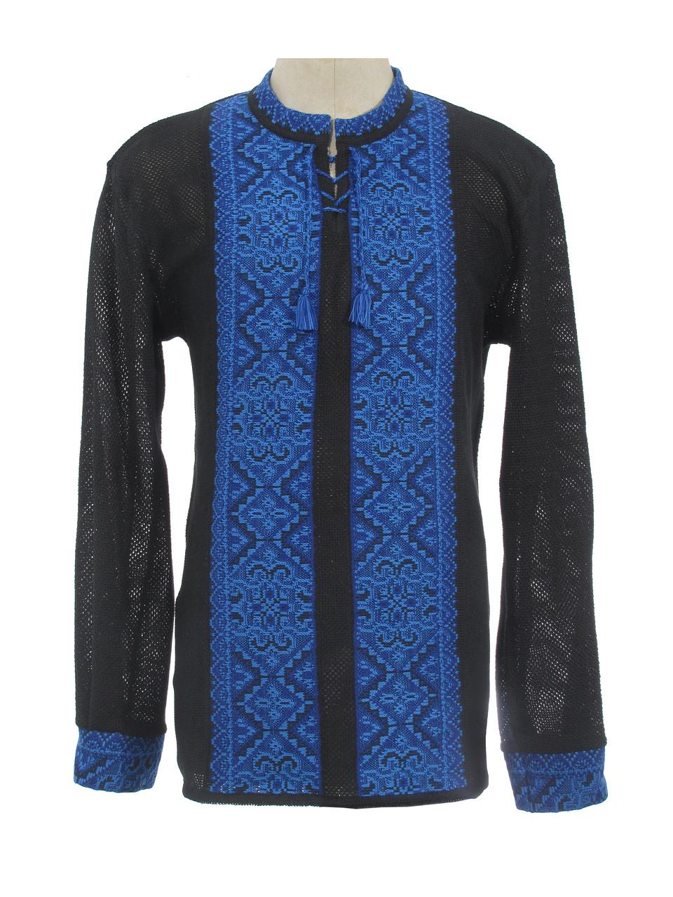 Мужская вязаная рубашка Влад синий (х/б)