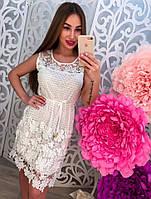 Женское кружевное стильное платье с поясом (2 цвета)