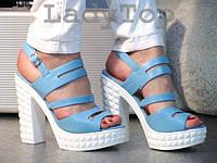 Женские Голубые БОСОНОЖКИ на высоком белом каблуке р..37,38, фото 1