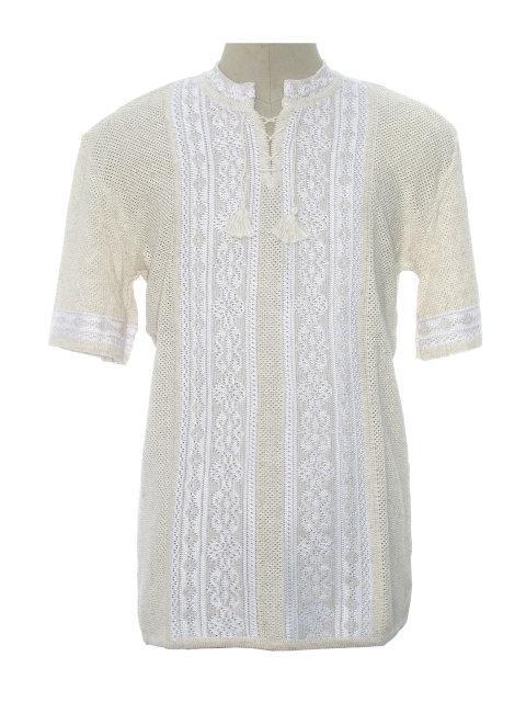 Мужская вязаная рубашка 20264 (короткий рукав)