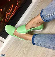 Балетки зеленые натуральная кожа