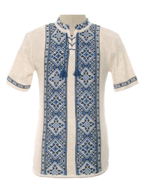 Мужская вязаная рубашка 20266 (короткий рукав)