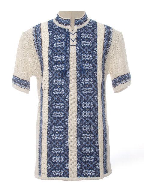 Мужская вязаная рубашка Карпаты синие (короткий рукав)