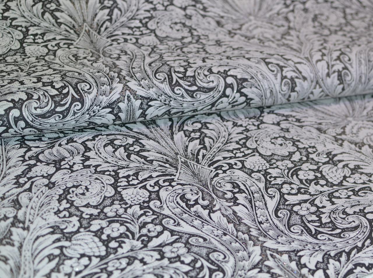 Обои на стену, винил на флизелине, B109 Консуэло 3500-10, серый, черно-белый,  1,06*10м