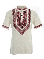 Мужская вязаная рубашка Полуботок красный (короткий рукав)