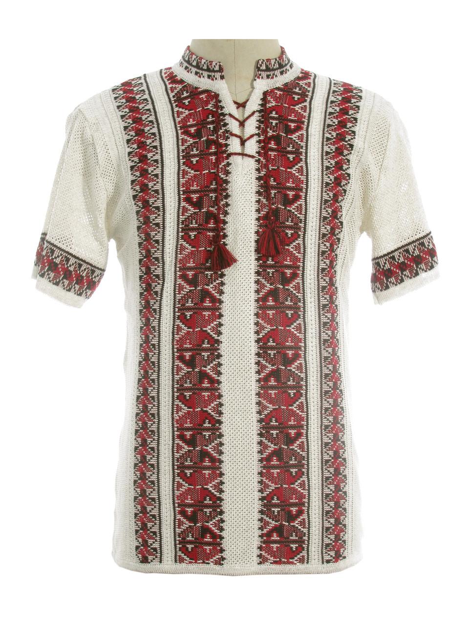 Мужская вязаная рубашка 20275 (короткий рукав)