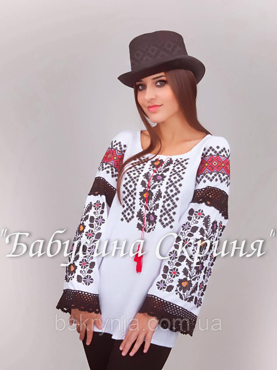 Заготовка Борщівської жіночої сорочки для вишивки нитками бісером БС-106  білий 610ce14aa8f3d