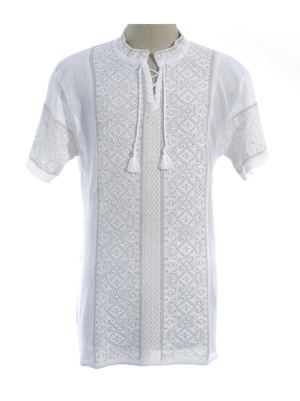 Мужская вязаная рубашка Роман (короткий рукав) (х/б)