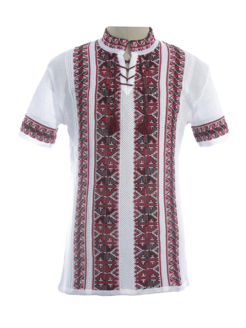 Мужская вязаная рубашка 20282 (короткий рукав) (х/б)